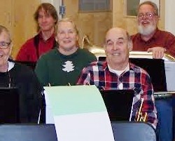 Some HJ Crosby Community Band Members at a recent rehearsal in Dexter