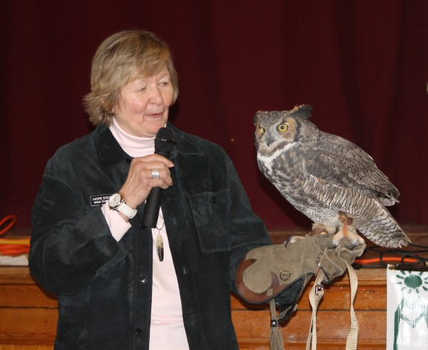 Wind Over Wings President Hope Douglas with Great Horned Owl