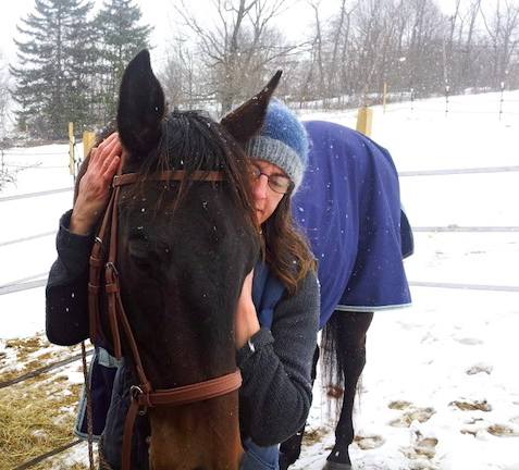 Northstar Horse Rescue Executive Director, Elizabeth Dickerson, with the Thoroughbred filly, My Graduate, rescued last year from a feedlot.