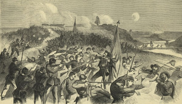 A Union infantryman bayonets a Confederate colorbearer as savage fighting engulfs the Confederate defenses at Rappahannock Station, Va. well after sunset on Saturday, Nov. 7, 1863. The 6th Maine Infantry Regiment struck the breastworks beyond where the artist later stood to sketch this drawing.