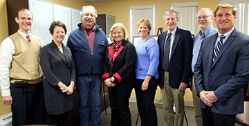 (L-R) Wade C. Johnson, PBH president & CEO; Donna DeBlois, Hospice House project director; Donald Sussman; Congresswoman Chellie Pingree; Joanne Billington, PBH Foundation board of trustees chair; Rick Bates, Rockport town manager; Bill Chapman, Town of Rockport Select Board chair; Blaine Buck, Cordjia Capital Projects Group president & CEO.