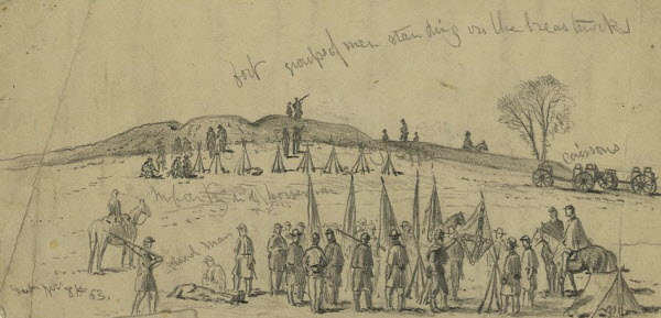 fter Union soldiers captured a Confederate bridgehead at Rappahannock Station, Va. in a night attack on Saturday, Nov. 7, 1863, artist Edwin Forbes visited the battlefield the next morning and sketched Federal troops near the Confederate redoubts.