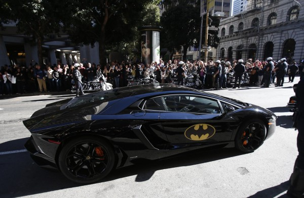 The Batmobile carrying five-year-old leukemia survivor Miles, aka &quotBatkid&quot, is seen as part of a day arranged by the Make-A-Wish Foundation in San Francisco, California Nov. 15, 2013.