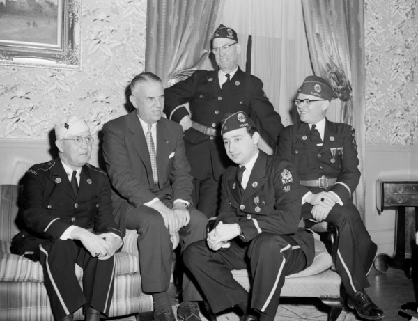Arthur J. Connell, national commander of the American Legion, addressed the James W. Williams Post, American Legion, in Bangor on Wednesday, April 7, 1954. Shown at the Bangor House (from left) Robert Merrill of Newport, department commander; Connell; Sumner Shafmaster, commander of the host Williams post; Peter Thaanum of Winthrop, national committeeman; and Roy Burton, chairman of the banquet.