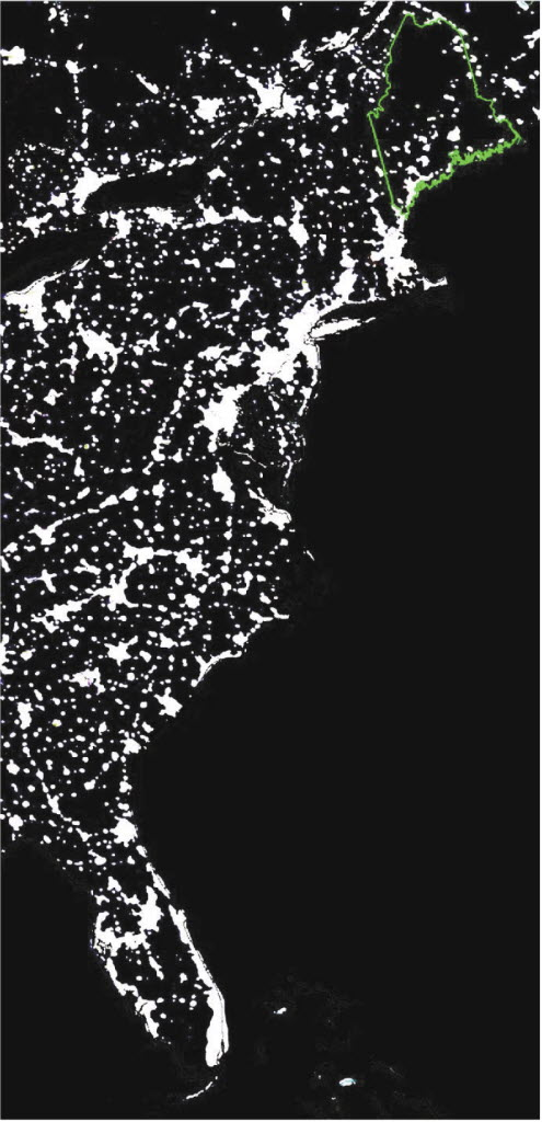 Satellite photo of Eastern U.S. at night; shows Maine's north woods, the largest undeveloped forest east of the Mississippi.