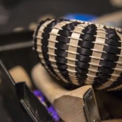 One of Jeremy Frey's baskets in progress. University of Maine photo