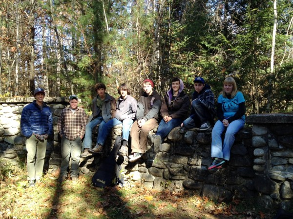 Maine School of Natural Science Outing Club. From left to right, Derek Veilleux, Charlie Pike, Liam Anderson, Brian Waterbury, Xzavier Botta, Forrest Macreedy, Kaleb Shaw, Tanika Hodges.