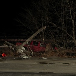 Man charged with drunken driving after accident knocks out power, closes roadway