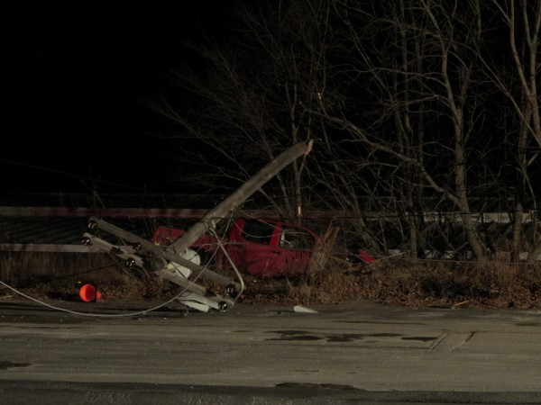 A pickup truck knocked down a utility pole Friday night in Rockland, cutting off power to 670 customers in the area.