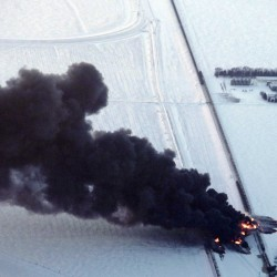 Train carrying crude oil derails, explodes in Alabama