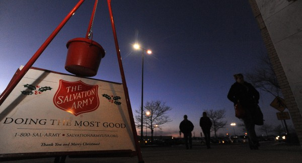 One of the regular spots for the Salvation Army kettle drive is in the front of the Macy's Department Store in Bangor.