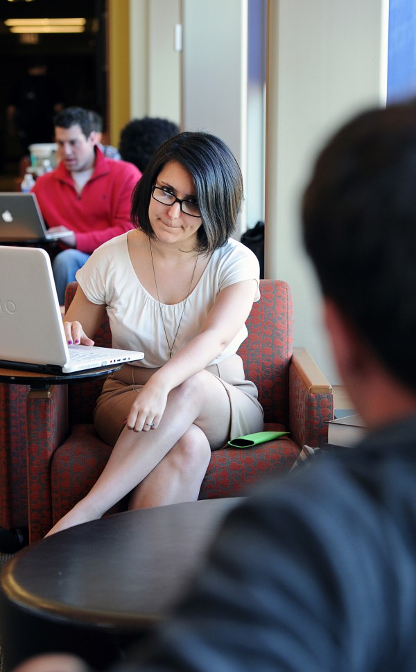 Stephanie Martins, a Rutgers law school student, works as an unpaid intern in the Gloucester County Prosecutor's Office but faces almost $100,000 in debt from school tuition and expenses. She is shown studying at the Rutgers School of Law on March 6, 2012, in Newark, New Jersey.