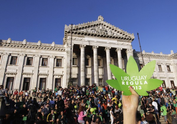 People participate in the so-called &quotLast demonstration with illegal marijuana&quot in front of the Congress building in Montevideo, as the Senate debates a government-sponsored bill establishing state regulation of the cultivation, distribution and consumption of marijuana during a session, December 10, 2013. Uruguay became the first country to legalize the growing, sale and smoking of marijuana on Tuesday, a pioneering social experiment that will be closely watched by other nations debating drug liberalization.