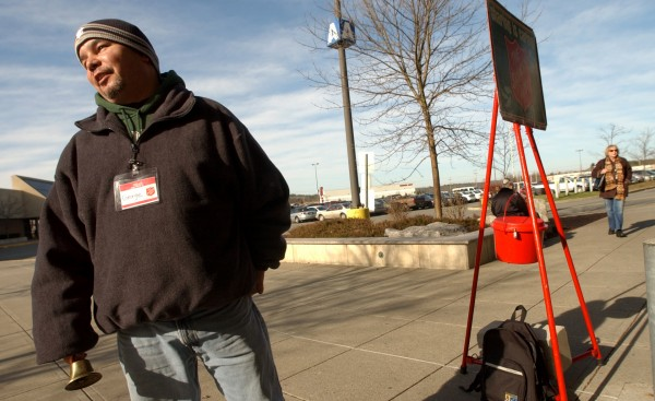 George Contreras of Brewer rings the bell at the main entrance of the Bangor Mall in this file photo from 2006.