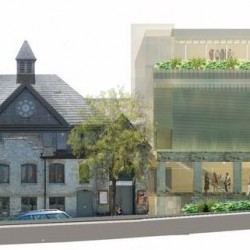 An artist's rendering of the latest design for the proposed addition, right, to the St. Lawrence Arts Center in Portland. The Historic Preservation Board will discuss the revised design at a workshop on Wednesday at City Hall.