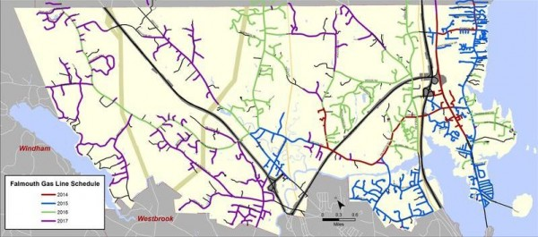 A color-coded map of Falmouth shows where Summit Natural Gas plans to install gas distribution lines over the next four years.
