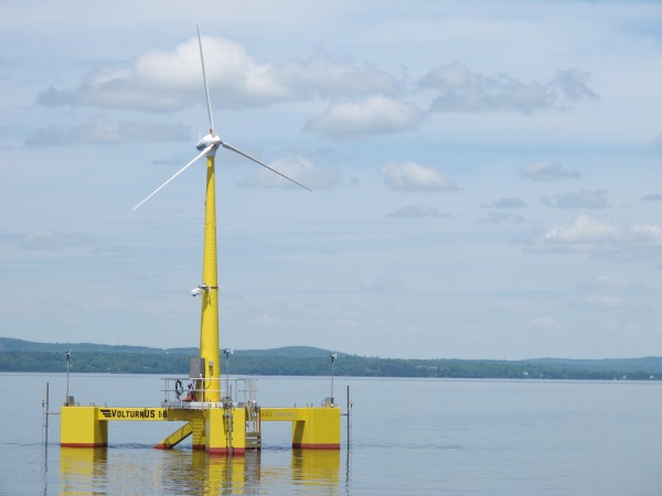 VolturnUS, the wind turbine designed and built at the University of Maine, became the first grid-connected offshore wind turbine in the Americas to provide electricity to the power grid in June.