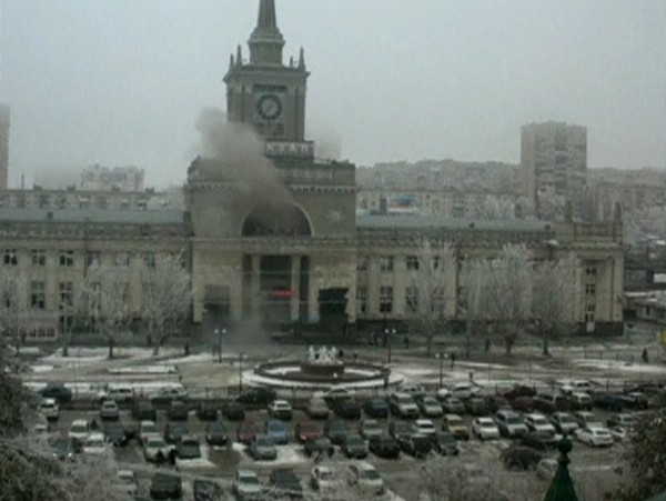 A still image taken from a CCTV footage shows smoke rising after an explosion at a train station in Volgograd on Sunday.