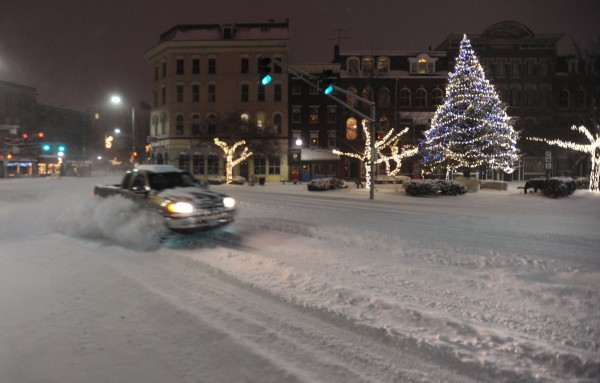 A driver fish tails his truck along Main Street in Bangor during  Sunday's snow storm.