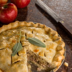 "Sausage Apple Sage Pie is adapted from Angela Boggiano's ""Pie."""