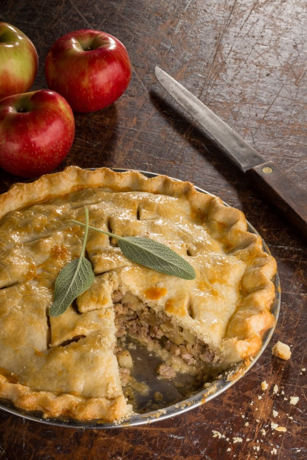 Sausage Apple Sage Pie is adapted from Angela Boggiano's &quotPie.&quot