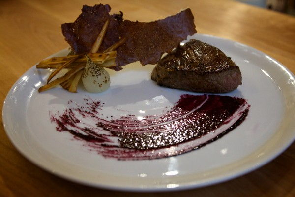A sample dish at Vinland, a Portland restaurant opening this week that will serve only locally sourced food: beef knuckle steak with fried milk skin, parsnips, broth-poached onions and blueberry vinegar reduction.