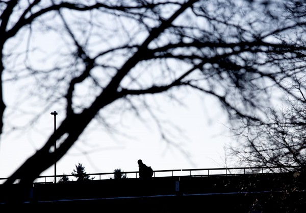 A person crosses a bridge over the  Kenduskeag Stream Wednesday morning in Bangor. According to Accuweather.com, the cold snap will leave Bangor with temperatures in the teens throughout the weekend
