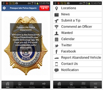 A screenshot of the new Presque Isle Police Department app.