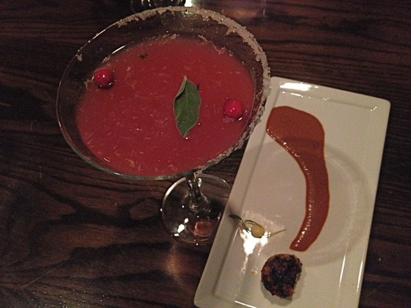 First course at Zapoteca's tequila dinner last month: chile-dusted scallops with chilpachole reduction and lobster roe butter served with a cranberry-sage margarita.