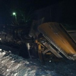 Grand Isle's only snowplow damaged after it hits crevice in road, overturns