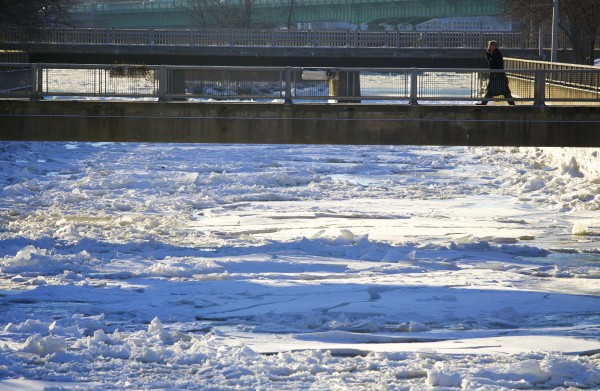 A person crosses the frozen Kenduskeag Stream Wednesday morning in Bangor. According to Accuweather.com, the cold snap will leave Bangor with temperatures in the teens throughout the weekend.