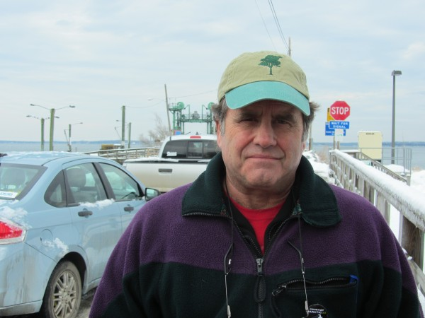 Peter Willcox speaks before boarding a Maine State Ferry at the Lincolnville terminal on Saturday afternoon, heading home to Islesboro.