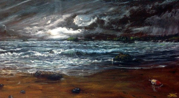 A seascape painting by Sandy Balmforth, on display at Waterfall Arts in Belfast.