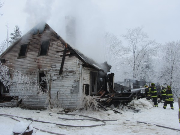 A fire destroyed a home off the Friendship Road in Waldoboro on Friday morning.