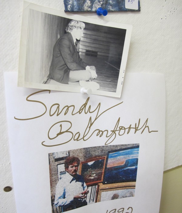Sandy Balmforth, who died in 1991, left nearly 200 paintings and sketches, often surreal and disturbing, which are now on display and for sale at Waterfall Arts in Belfast. Pictured are two of the few photos left of Balmforth.