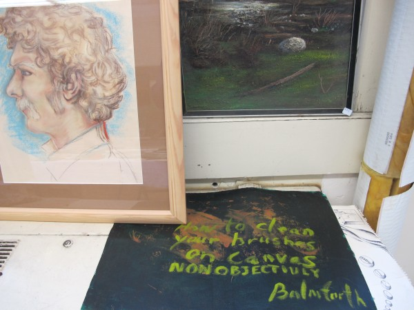 Sandy Balmforth, who died in 1991, left nearly 200 paintings and sketches, often surreal and disturbing, which are now on display and for sale at Waterfall Arts in Belfast. At left is a portrait of Balmforth by his former teacher, R.A. Strickland.