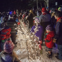 Some of the hundreds who gathered to attend the 29th annual Ram Pasture Tree Lighting look on in Newtown, Connecticut December 11, 2013.