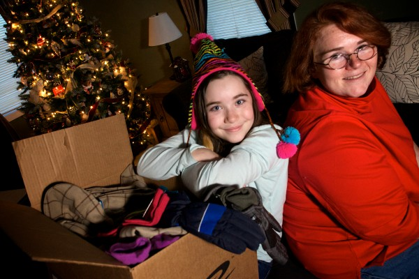 Marissa Bates, 11, started the Amazing Mitten Tree Project in her hometown of Westbrook with the help of her mother, Veronica. The trees, covered with with warm mittens, gloves and hats, have been placed at schools in town and provide for kids who might not otherwise have something to wear this winter.