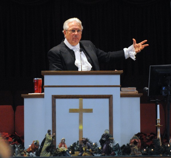 The Rev. Garnett Chute speaks during the Hermon Baptist Church bicentennial service Sunday morning.