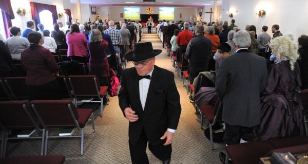 Roy Payne was one of several Hermon residents who wore a period costume during the Hermon Baptist Church bicentennial service Sunday morning. Payne and his wife Joanna Payne were married in the church on Christmas day in 1963.