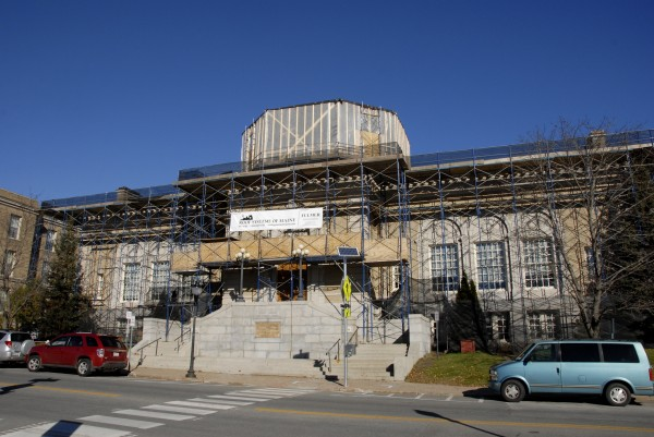 The scaffolding that has surrounded the Bangor Public Library since June 2013 will come down in mid- to late January 2014 as Roof Systems of Maine completes a $3 million replacement of the library's original copper roof.