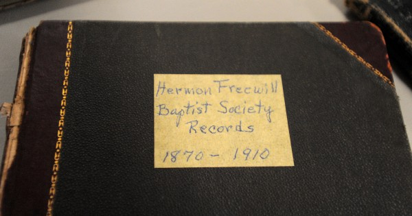 Some of the old church records were on display during the Hermon Baptist Church bicentennial service Sunday morning.