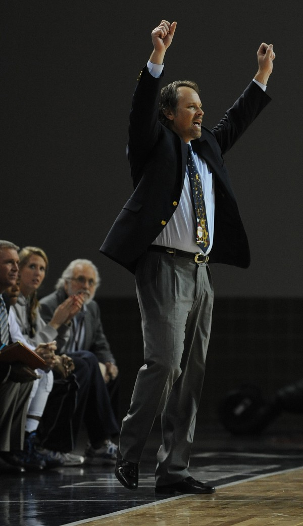 UMaine head coach Richard Barron reacts to play on the court against Towson during first-half action Saturday at Bangor.