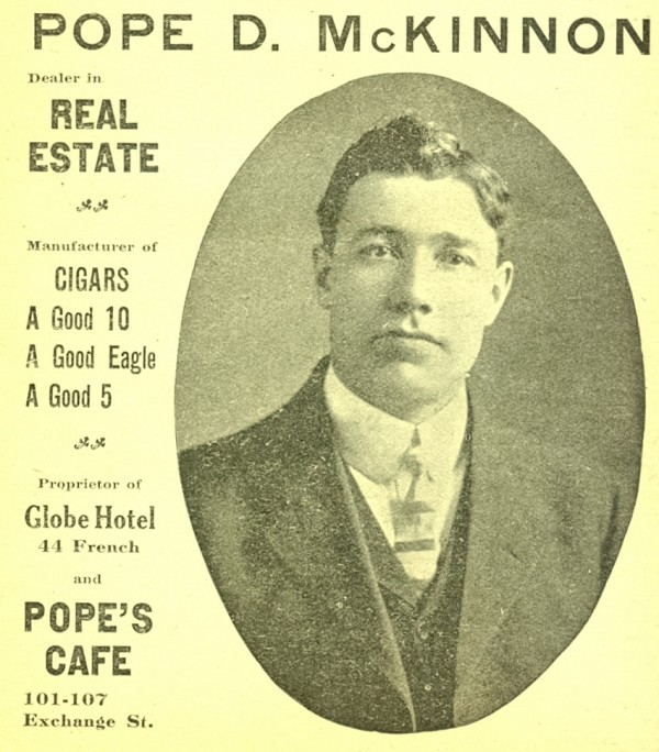 Pope D. McKinnon portrayed in an advertisement for some of his business endeavors in the 1910-11 Bangor City Directory.