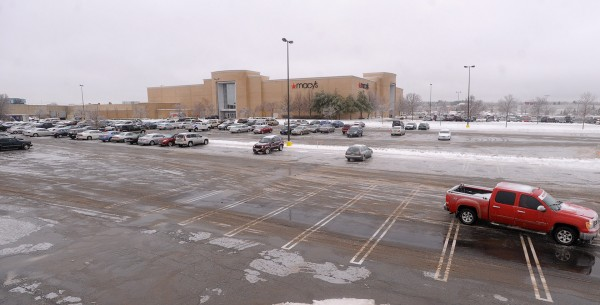 There were plenty of empty parking spots at the Bangor Mall Monday. The bad weather might have kept people from doing some last minute shopping.