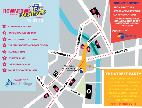 A map of the festivities for Bangor's Downtown Countdown 2013.