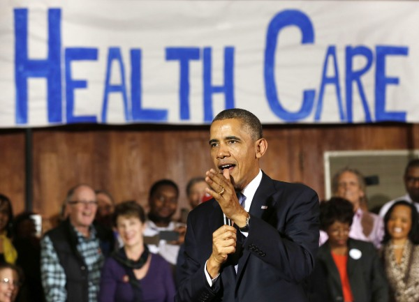 U.S. President Barack Obama speaks about Affordable Health Care to volunteers at the Temple Emanu-El in Dallas, Texas, November 6, 2013.