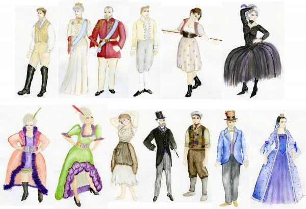Rendering of the costumes for Penobscot Theatre's &quotCinderella&quot by Jess Fialko.