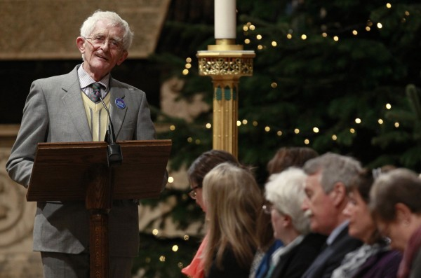 Jim Swire, father of one of the victims of the Lockerbie bombing, speaks during a service of remembrance to mark the 25th anniversary of the Lockerbie air disaster at Westminster Abbey in London on Saturday.
