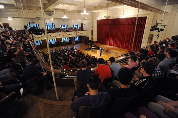 Governor Paul LePage speaks to a packed auditorium at John Bapst High School about domestic violence on Friday.